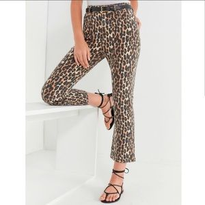 BDG UO Kick Flare High Rise Leopard Print Jeans